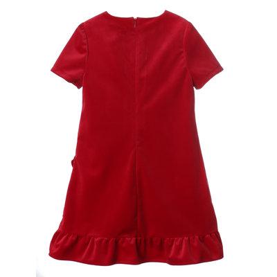 Luli & Me Red Luxe Velvet Ruffle Dress