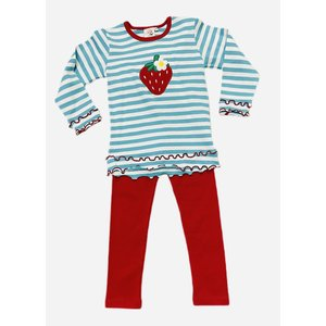 Luigi Strawberry Turquoise Stripe Legging Set