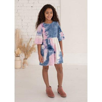 Mabel & Honey Frilly Lady Knit Tie Dye Dress