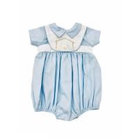Lulu Bebe LLC Lt Blue Nativity Embroidered Boy Bubble