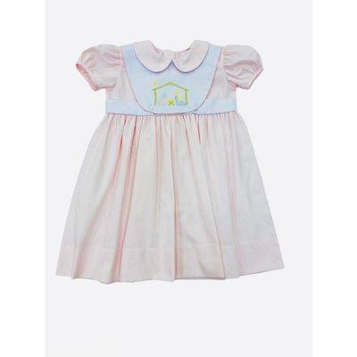 Lulu Bebe LLC Lt Pink Nativity Embroidered Dress