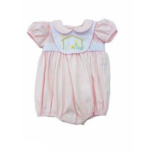 Lulu Bebe LLC Lt Pink Nativity Emroidered Bubble