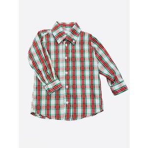 Lulu Bebe LLC Green Plaid LS Button Down Shirt