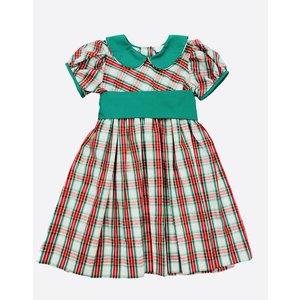 Lulu Bebe LLC Green Plaid Sash Waist Dress