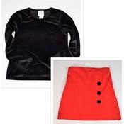 Maggie Breen Black Top w/ Red Skirt Set