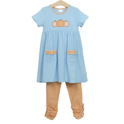 Trotter Street Kids Pumpkin Trio Pocket Dress Pants Set
