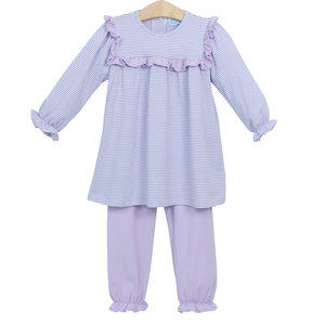 Trotter Street Kids Marie Lavender Stripe Pants Set