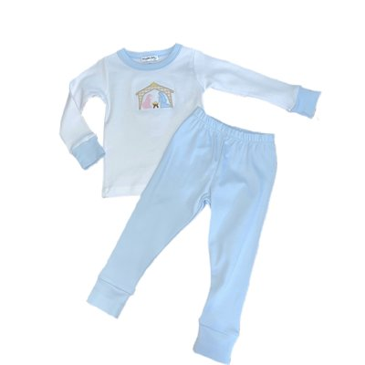 Magnolia Baby Away In The Manger Pajama Light Blue