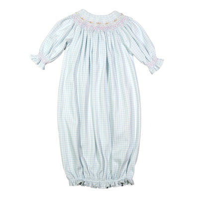 Baby Loren Lexie Blue Gingham Pima Bishop Gown