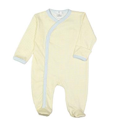 Baby Loren Mason Yellow And Blue Gingham Pima Footie