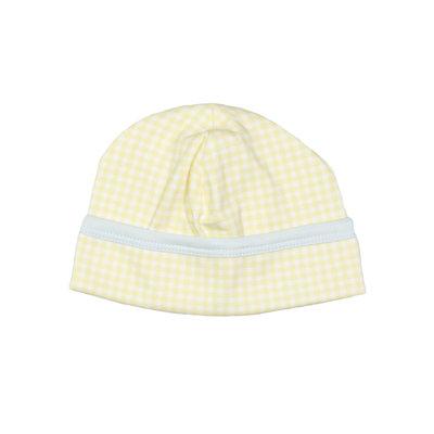 Baby Loren Mason Yellow And Blue Gingham Pima Beanie