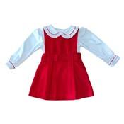 Zuccini Red Corduroy Debra Jumper w/Matching Knit Blouse