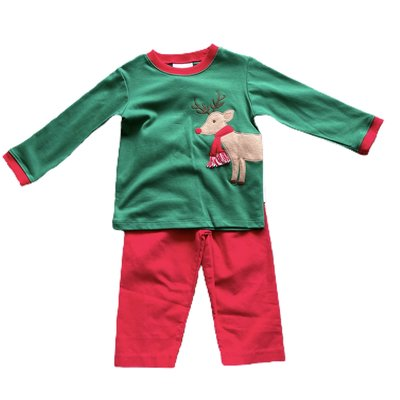 Zuccini Reindeer Green Tee/Red Corduroy Pant Set