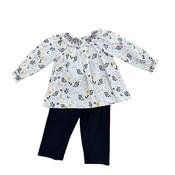 Zuccini Girl Blanken Baker Floral Blouse and Navy Pant Set