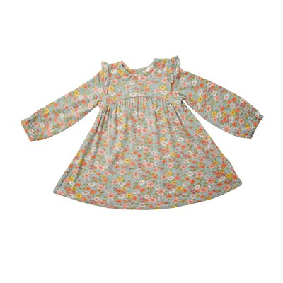 Angel Dear Floating Floral Blue Ruffle Dress/Legging Set