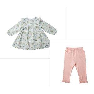 Angel Dear Meadow Floral Blue Ruffle Dress/Legging Set