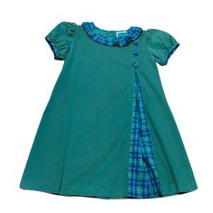 True Navy/Green Plaid Pleat Button Dress