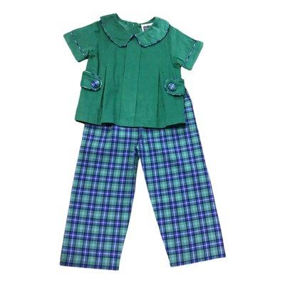 True Navy/Green Plaid Tab Boy's Set