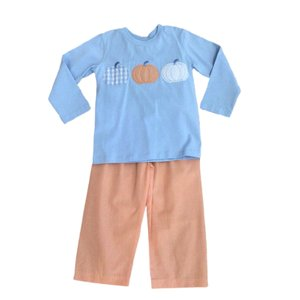 True Pumpkin Applique Boy's Pant Set