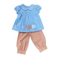 True Pumpkin Applique Girl's Pant Set