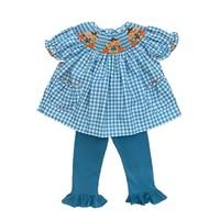 Delaney Smocked Scarecrow Aqua Gingham Bishop Pant Set
