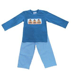 Delaney Smocked Scarecrow Aqua Gingham Boy Pant Set