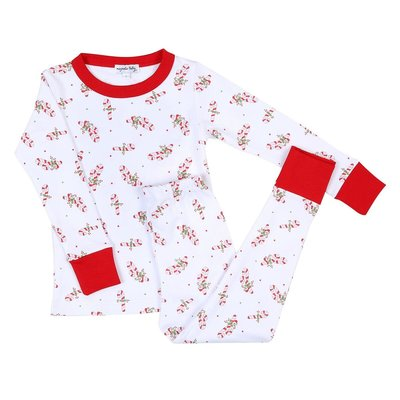 Magnolia Baby Vintage Candy Cane Long Pajama Red
