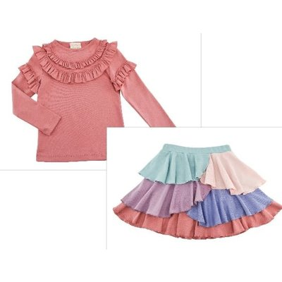 Lemon Loves Lime Victoria Tee/Multi Ruffle Tiered Skirt Set