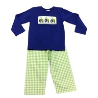 True Tractor Smocked Pant Set