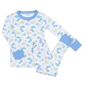 Magnolia Baby Little Dinosaurs Light Blue Long Pajama