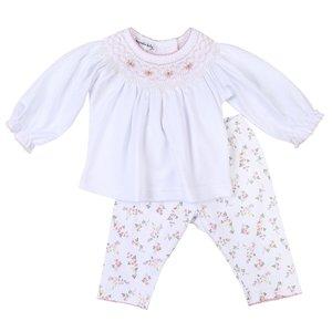 Magnolia Baby Grace's Smocked Bishop Printed Pink Pant Set