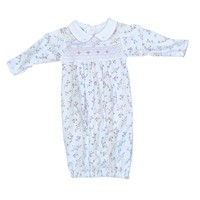 Magnolia Baby Grace's Classics Smocked Printed Collared Gathered Gown Pink