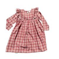 Natalie Grant Red Plaid Flutter Dress