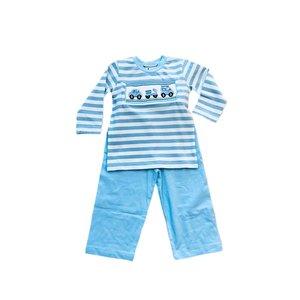 Delaney Smocked Cars & Trucks Stripe Knit Pant Set