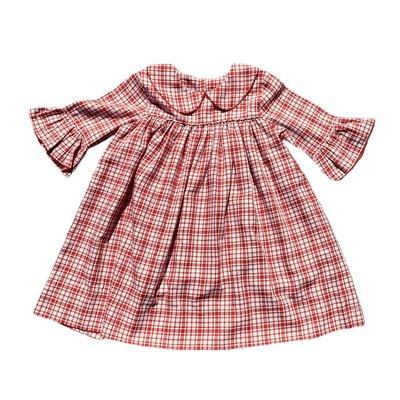 Delaney Red Plaid Collar Dress w/Ruffle Sleeve