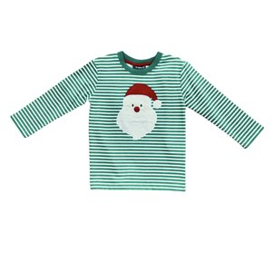 Globaltex Kelly Stripe Santa Face Applique T'shirt