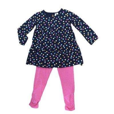 Globaltex Multi Tier Mix Dot Tunic w/Pink Legging