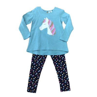 Globaltex Aline Glitter Horse Tunic w/Multi Dot Legging