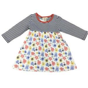 Luigi Navy Striped Flower Dress