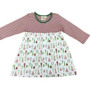 Luigi Red and Christmas Tree Printed Dress