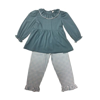 Delaney Aqua Check Ruffle Knit Pant Set