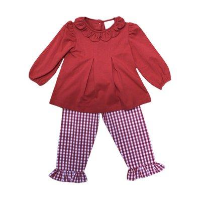Delaney Red Check Knit Ruffle Pant Set