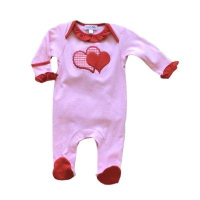 Magnolia Baby Love Applique Red Ruffle Lap Footie