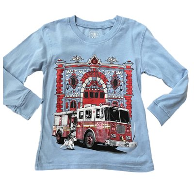 Wes and Willy Fire Truck NC Blue Tee