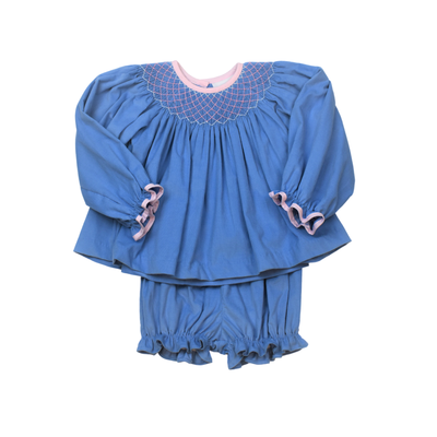 Lullaby Set Blue Cord Betsy Bishop Top/Munro Ruffle Bloomer Set