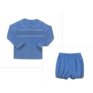 Lullaby Set Blue Cord Liam Shirt/Munro Bloomer Set