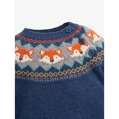 JoJo Maman Bebe Blue Fox Fair Isle Sweater