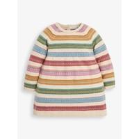 JoJo Maman Bebe Natural Stripe Fair Isle Sweater Dress w/Matching Tights