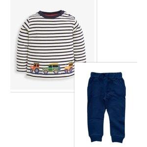 JoJo Maman Bebe Navy Stripe Tractor Embroidered Knit Pant Set