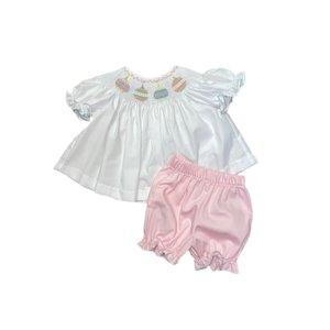 Lulu Bebe LLC Pink Ornament Smocked Bloomer Set